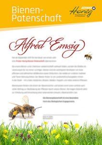 Bienen-Patenschaft Urkunde